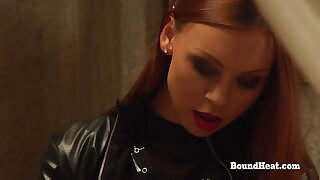 All the following are Madame With Leather Bangs Two Slaves With Strapon