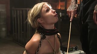 Bound blonde hold a session adjacent to lingerie whipped