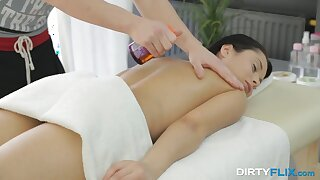 Brunette with perky nipples Kristall Blitz gets her pussy massaged added to fucked