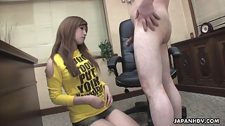 Naughty Japanese hottie spreads legs there get hairy pussy masturbated
