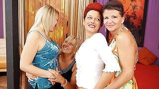 Several Old And Young Lesbians Having A Party On Abut on - MatureNL