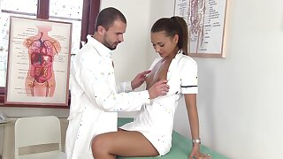 Sexy nurse Alexis Brill kisses her adulterate together with gives super duper good BJ