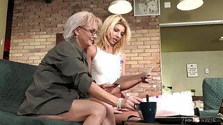 Aging lesbian Elvira is fond of magnificent young body of 19 yo model Missy Luv